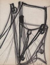 JEANETTE WELTY CHELF Pen Drawing ABSTRACT IMPRESSIONISM BOAT RIGGING c1960