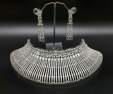 Indian Bollywood Style Fashion CZ AD Silver Jewelry Choker Necklace