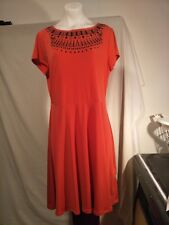 Rockmans Ladies Stretch Dress in Orange with Black Detail on the Bodice Size 12
