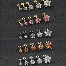 Star Zircon Stud Ear Cartilage Helix Tragus Piercing Earring Prong Set 2 PCS