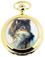 Taschenuhr Weiß Gold Husky Schlittenhund Analog Quarz Herrenuhr D-60356117760389