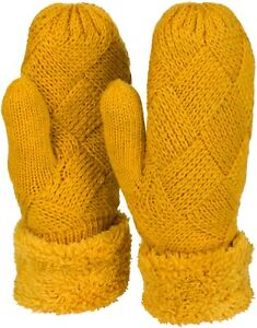 Damen Winter Strick Fäustlinge Handschuhe Rauten Muster Fleece, Strickhandschuhe
