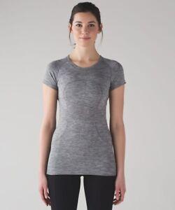Lululemon Swiftly Tech Heathered Gray Slate / White Short Sleeve Top Size 10 EUC