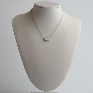 Kendra Scott Elisa Silver Tone Pendant Necklace in Iridescent Drusy