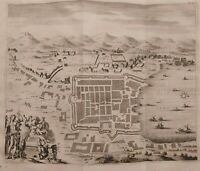 1704 Van der Aa Mappa Pianta Veduta Volo d'Uccello Lago COMO Stoopendaal
