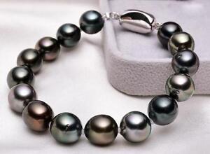 "7.5""-8""11-12mm natural tahitian genuine black pearl bracelet 14K"