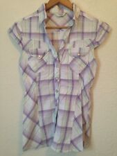 Tammy Age 16 176cm Short Sleeve Check Shirt Purple Multi <BC612