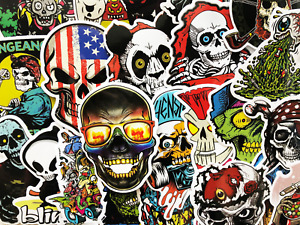 50 Skull Skeleton Graffiti Stickers Punisher Car Bumper Skateboard Decals #CL