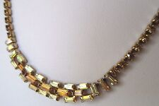 collier bijou ancien couleur or cristaux baguette borèalis couleur citrine 326