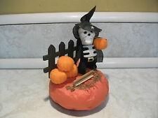 Vintage Cute Adorable Skeleton Witch Halloween Decoration JOL Pumpkin Flocked