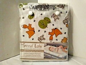 Trend Lab Deluxe 100% Cotton Flannel Changing Pad Cover Wood Friends Design