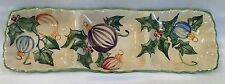 ZRIKE HOLIDAY STRIPED CHRISTMAS ORNAMENT LG 3 SECTION SERVING TRAY HANDPAINTED