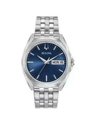 BULOVA 96C129 STAINLESS STEEL BLUE DIAL QUARTZ MEN'S WATCH