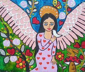 "Angel and Bird , Original acrylic on Canvas 9"" x 12"" By Casimira Mostyn"