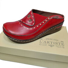 L'Artiste Red Leather Clog Slip On Platform Mule Shoe Chino Sz 37 40 41 42
