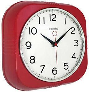 """Westclox Retro 9.5"""" Silent Sweep Easy to Read Wall Clock (Red) 32948R"""