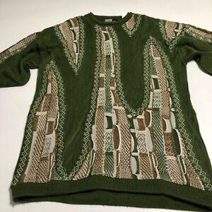 Vtg Mens COOGI Short Sleeve Sweater Button Neck 3XL Green Down Under Blue
