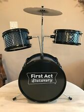 First Act Discovery Drum Set, Blue Black Checks 3 Drums Cymbal Foot Pedal Stand