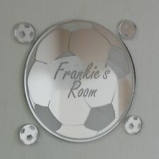 Football Mirror Set Personalised Door Name Plaque Boy Girls Bed Room Sign