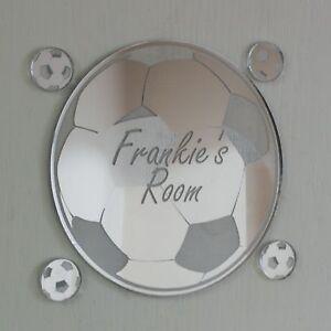 Football Mirror Set Personalised Door Name Plaque Boy Girls Bed Room Sign