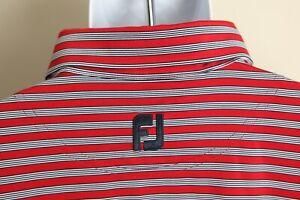 FootJoy FJ Men's red, white and blue striped short sleeve golf polo shirt 2XL