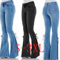 New Women Denim Jeans High Waist Bell Bottom Pants Flare Pants Wide Leg Trousers