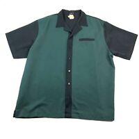 Hilton Retro Bowling Shirt Mens Size XLarge Green Black Polyester Rayon Button