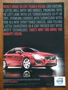2010 Red Volvo AWD S60 Turbo Photo 4 Door Sedan Vintage Car Print AD Poster