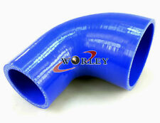 "2.75""-3"" Inch 70mm-76mm 90 Degree Silicone Hose Reducer Bend Elbow Blue"