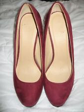 "Burgundy faux suede stiletto heeled shoes - Size 7/41 - 5"" heel"