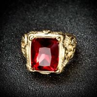 Men's Gold Stainless Steel Princess Red Garnet Signet Gemstone Band Ring Jewelry