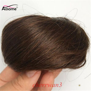 Clip In On Human Hair Straight Drawstring Buns Chignon Updo Cover Extension