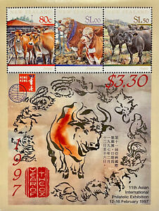 NEW ZEALAND YEAR OF THE OX STAMPS SHEET 3v 1997 MNH LUNAR NEW YEAR HONG KONG '97