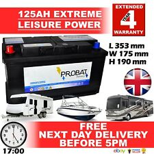 12V 125AH POSITIVE LEFT LEISURE BATTERY HEAVY DUTY LOW HEIGHT (125 AH AMP) 125