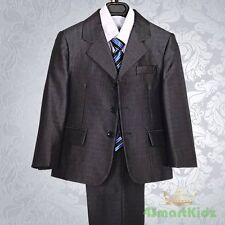 5 pcs Grey Pinstripe Formal Suit Wedding Page Boy Christening Outfit Sz 2 016B