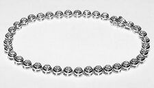 "14K White Gold 2Ct Diamond Tennis Line Bracelet Size 7-1/4"" Flexible 8.5Gr Nice"
