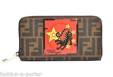 FENDI FLAGS LIMITED EDITION MONOGRAM LOGO ZIP AROUND CONTINENTAL WALLET PURSE