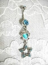 NEW BABY BLUE CATS EYE HEART & 5 CRYSTAL STAR CHARM STAINLESS STEEL BELLY RING