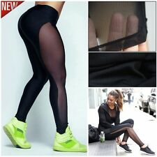 Womens Fitness Sport Yoga Leggings High Waist Mesh Patchwork Skinny Running Pant