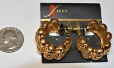 New Original Card Signed SAVVY Goldtone SWAROVSKI HOOP Shape Pierced Earrings
