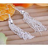 ASAMO Damen Ohrhänger Fäden Ohrringe 925 Sterling Silber plattiert O1113