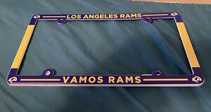 "Los Angeles Rams ""VAMOS RAMS"" Plastic License Plate Frame  NFL. NEW LOGO"