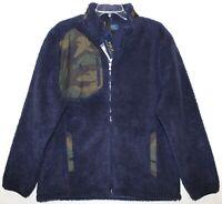 Polo Ralph Lauren Mens Navy Blue Camouflage Full-Zip Fleece Jacket NWT Size L