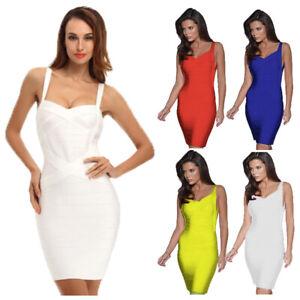 Sexy Women Celebrity Bandage Dress Spaghetti Strap Bodycon Mini Night Club Party