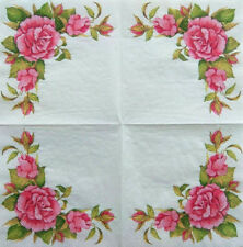 1x Pcs Paper Design Napkins Decoupage Craft Tissue Wild Pink Roses Bunch Flowers