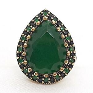 Deco 7.90ctw Emerald & Spinel 14K Yellow Gold 925 Sterling Silver Ring Size 8.75