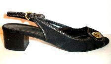COACH Jacque Black Jacquard Leather Open Toe Slingback Heels Size 7.5 B Italy