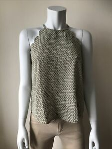 MINE Size S Olive Green Scallop Sleeveless Halterneck Top NEW Without Tags