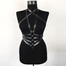 Women PU Leather Top Harness Body Bondage Waist Belt Band Corset Bustier Basques