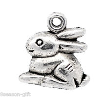 50 Gift Silver Tone Rabbit /Bunny Charm Pendants 15x13mm